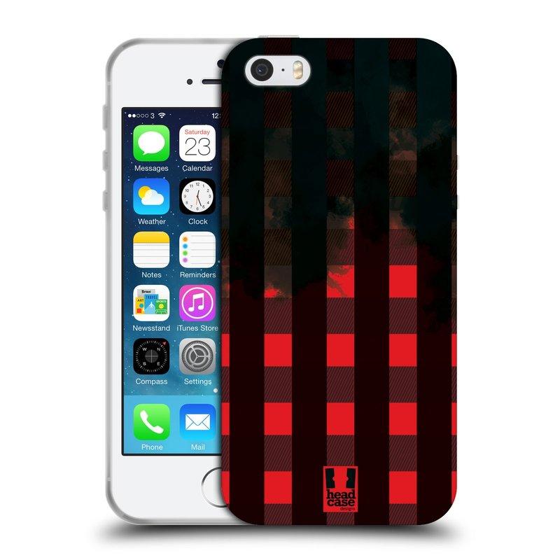 Silikonové pouzdro na mobil Apple iPhone SE, 5 a 5S HEAD CASE FLANEL RED BLACK (Silikonový kryt či obal na mobilní telefon Apple iPhone SE, 5 a 5S)