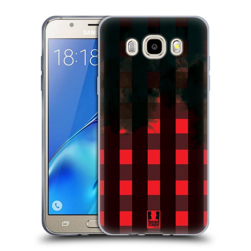 Silikonové pouzdro na mobil Samsung Galaxy J5 (2016) HEAD CASE FLANEL RED BLACK (Silikonový kryt či obal na mobilní telefon Samsung Galaxy J5 (2016) SM-J510)