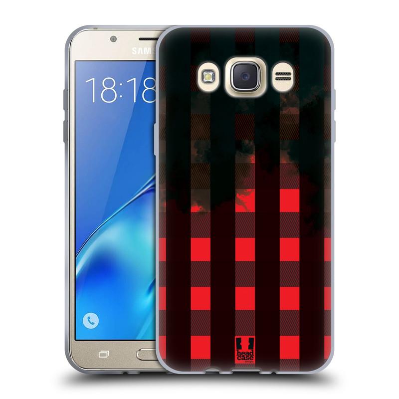 Silikonové pouzdro na mobil Samsung Galaxy J7 (2016) HEAD CASE FLANEL RED BLACK (Silikonový kryt či obal na mobilní telefon Samsung Galaxy J7 (2016) SM-J710)