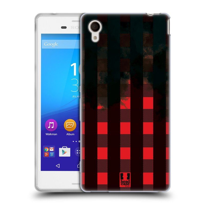 Silikonové pouzdro na mobil Sony Xperia M4 Aqua E2303 HEAD CASE FLANEL RED BLACK (Silikonový kryt či obal na mobilní telefon Sony Xperia M4 Aqua a M4 Aqua Dual SIM)