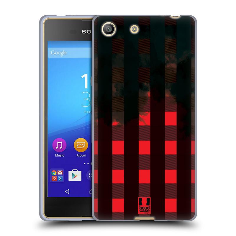 Silikonové pouzdro na mobil Sony Xperia M5 HEAD CASE FLANEL RED BLACK (Silikonový kryt či obal na mobilní telefon Sony Xperia M5 Dual SIM / Aqua)