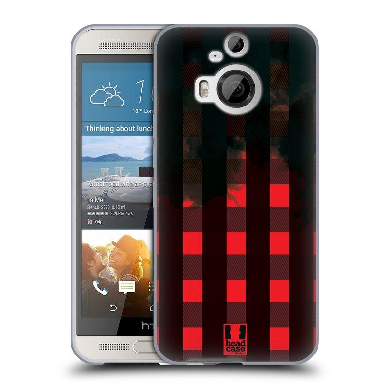 Silikonové pouzdro na mobil HTC One M9+ (Plus) HEAD CASE FLANEL RED BLACK (Silikonový kryt či obal na mobilní telefon HTC One M9+)