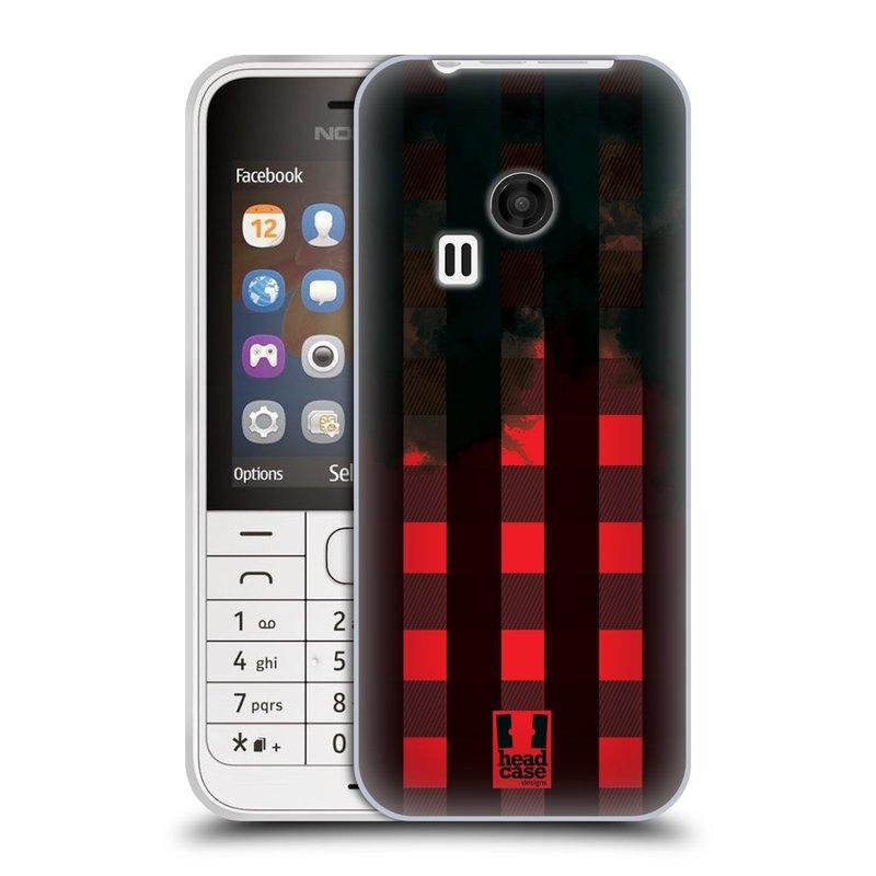 Silikonové pouzdro na mobil Nokia 220 HEAD CASE FLANEL RED BLACK (Silikonový kryt či obal na mobilní telefon Nokia 220 a 220 Dual SIM)