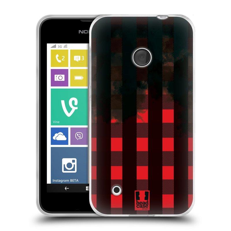 Silikonové pouzdro na mobil Nokia Lumia 530 HEAD CASE FLANEL RED BLACK (Silikonový kryt či obal na mobilní telefon Nokia Lumia 530)