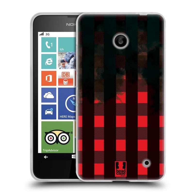 Silikonové pouzdro na mobil Nokia Lumia 630 HEAD CASE FLANEL RED BLACK (Silikonový kryt či obal na mobilní telefon Nokia Lumia 630 a Nokia Lumia 630 Dual SIM)