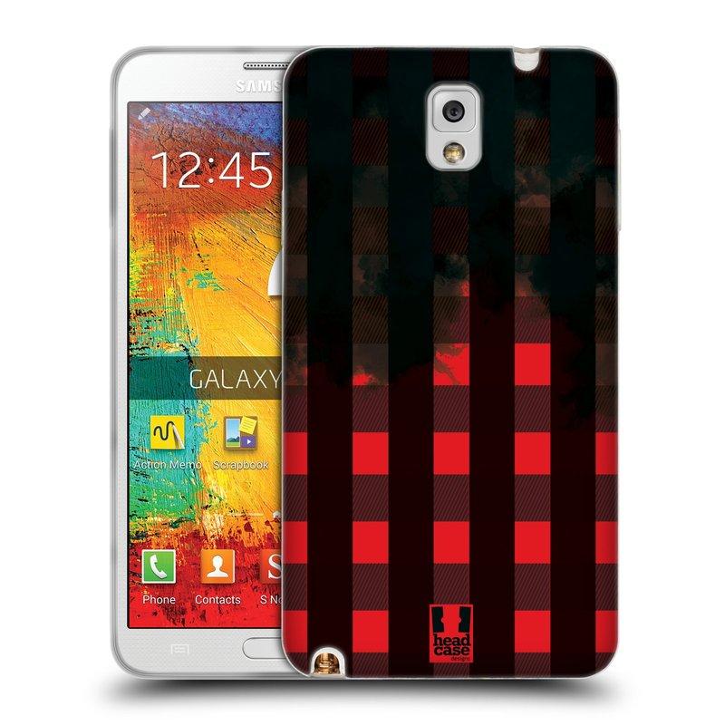 Silikonové pouzdro na mobil Samsung Galaxy Note 3 HEAD CASE FLANEL RED BLACK (Silikonový kryt či obal na mobilní telefon Samsung Galaxy Note 3 SM-N9005)