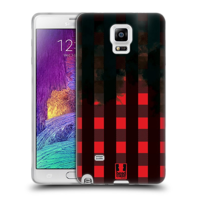 Silikonové pouzdro na mobil Samsung Galaxy Note 4 HEAD CASE FLANEL RED BLACK (Silikonový kryt či obal na mobilní telefon Samsung Galaxy Note 4 SM-N910F)