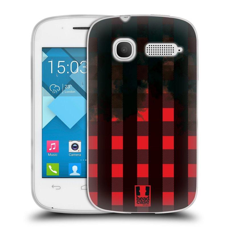 Silikonové pouzdro na mobil Alcatel One Touch Pop C1 HEAD CASE FLANEL RED BLACK (Silikonový kryt či obal na mobilní telefon Alcatel OT-4015D POP C1)