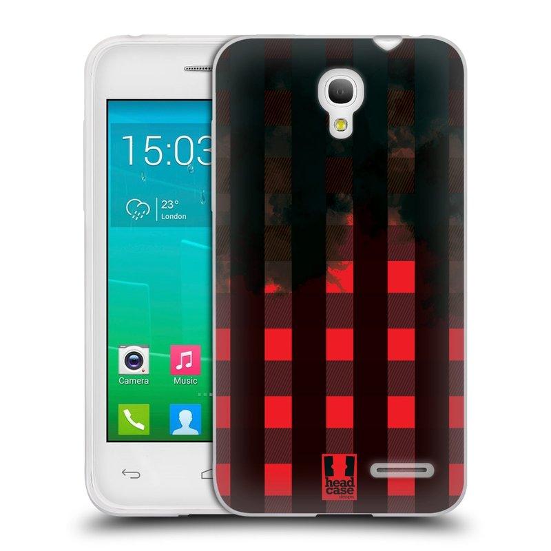 Silikonové pouzdro na mobil Alcatel One Touch Pop S3 HEAD CASE FLANEL RED BLACK (Silikonový kryt či obal na mobilní telefon Alcatel OT- 5050Y POP S3)