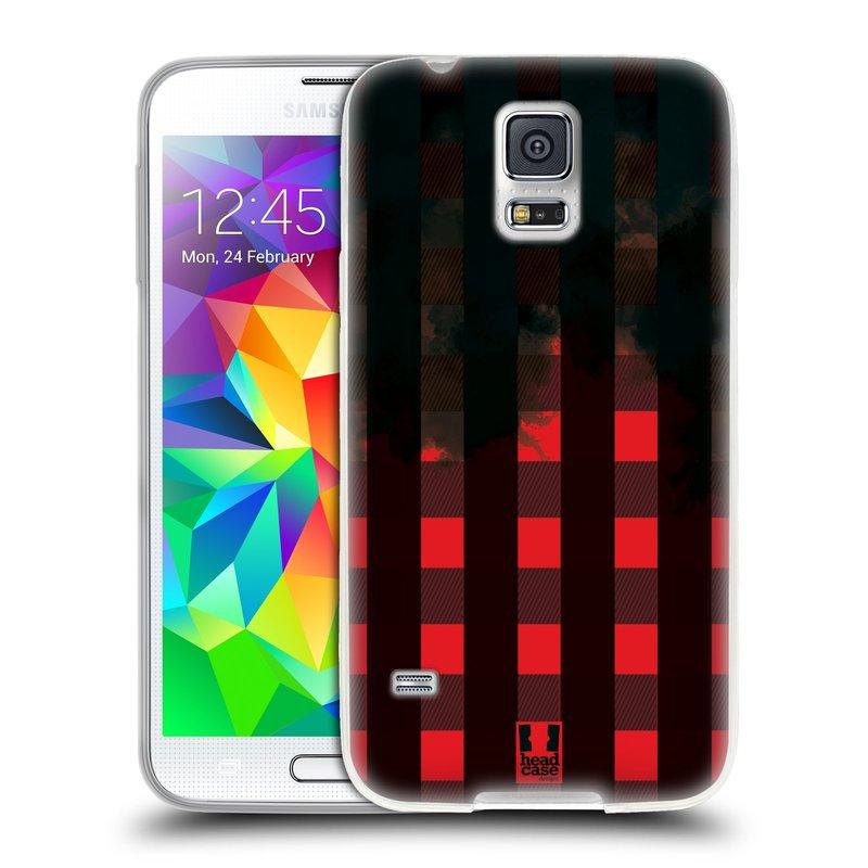Silikonové pouzdro na mobil Samsung Galaxy S5 HEAD CASE FLANEL RED BLACK (Silikonový kryt či obal na mobilní telefon Samsung Galaxy S5 SM-G900F)