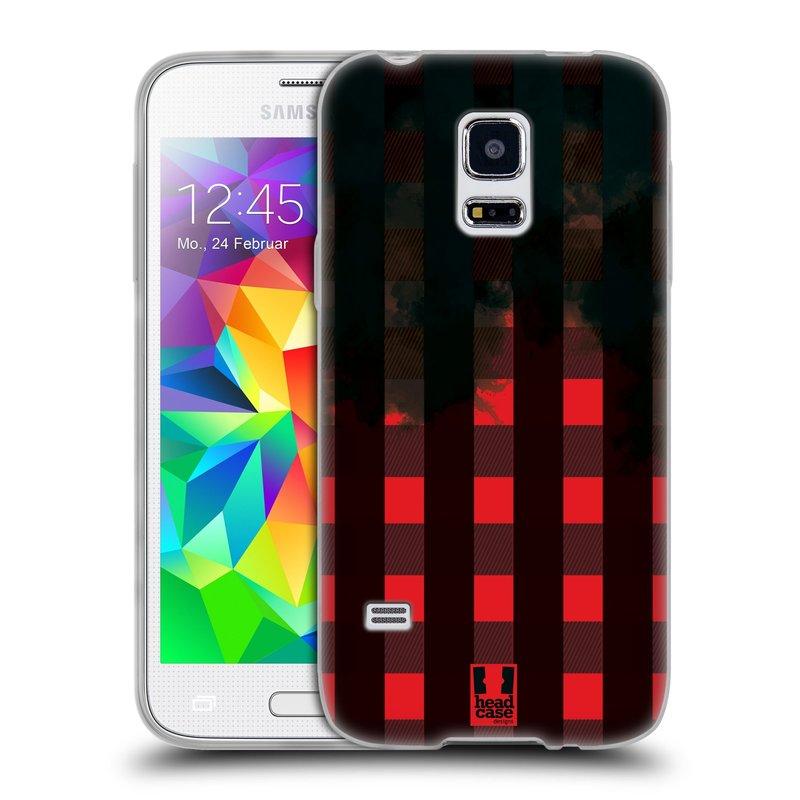 Silikonové pouzdro na mobil Samsung Galaxy S5 Mini HEAD CASE FLANEL RED BLACK (Silikonový kryt či obal na mobilní telefon Samsung Galaxy S5 Mini SM-G800F)