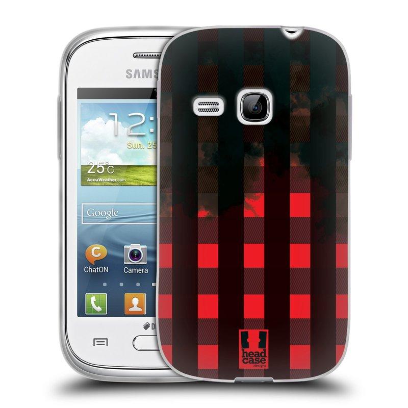 Silikonové pouzdro na mobil Samsung Galaxy Young HEAD CASE FLANEL RED BLACK (Silikonový kryt či obal na mobilní telefon Samsung Galaxy Young GT-S6310)