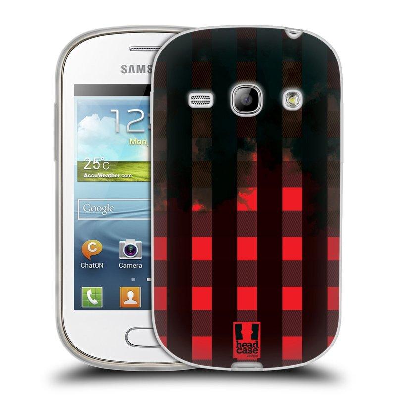 Silikonové pouzdro na mobil Samsung Galaxy Fame HEAD CASE FLANEL RED BLACK (Silikonový kryt či obal na mobilní telefon Samsung Galaxy Fame GT-S6810)