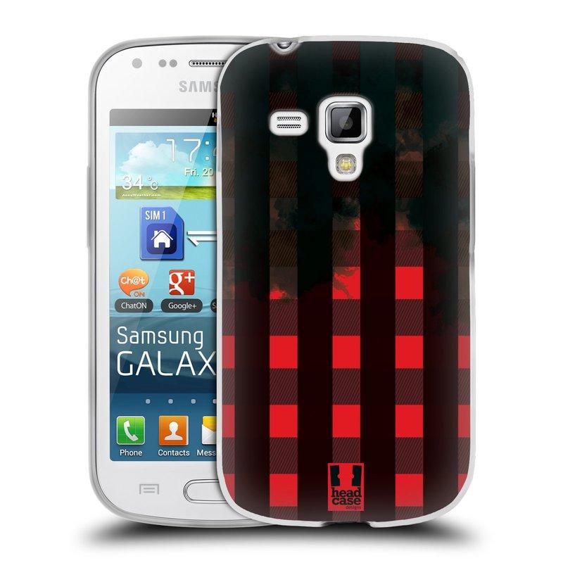 Silikonové pouzdro na mobil Samsung Galaxy S Duos HEAD CASE FLANEL RED BLACK (Silikonový kryt či obal na mobilní telefon Samsung Galaxy S Duos GT-S7562)