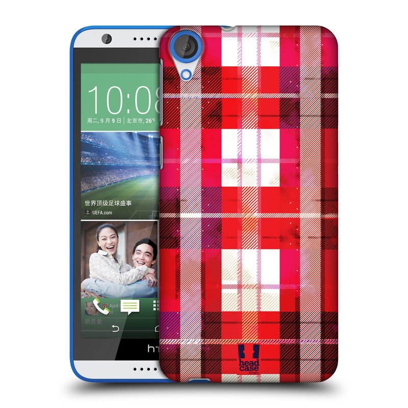 Plastové pouzdro na mobil HTC Desire 820 HEAD CASE FLANEL RED (Kryt či obal na mobilní telefon HTC Desire 820)