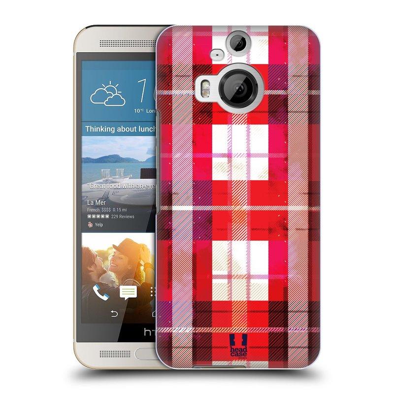 Plastové pouzdro na mobil HTC One M9+ (Plus) HEAD CASE FLANEL RED (Kryt či obal na mobilní telefon HTC One M9+)