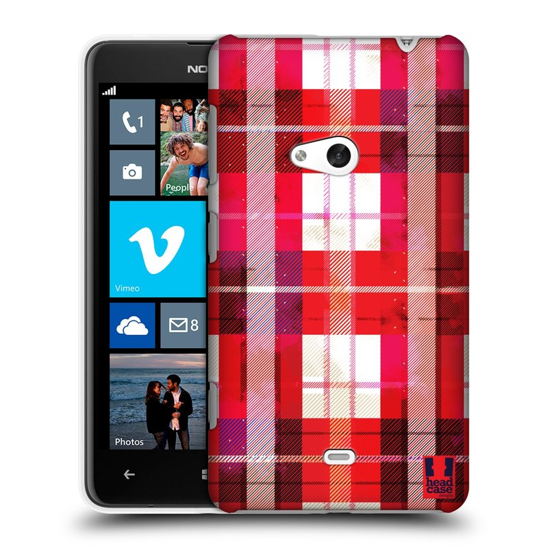 Plastové pouzdro na mobil Nokia Lumia 625 HEAD CASE FLANEL RED (Kryt či obal na mobilní telefon Nokia Lumia 625)