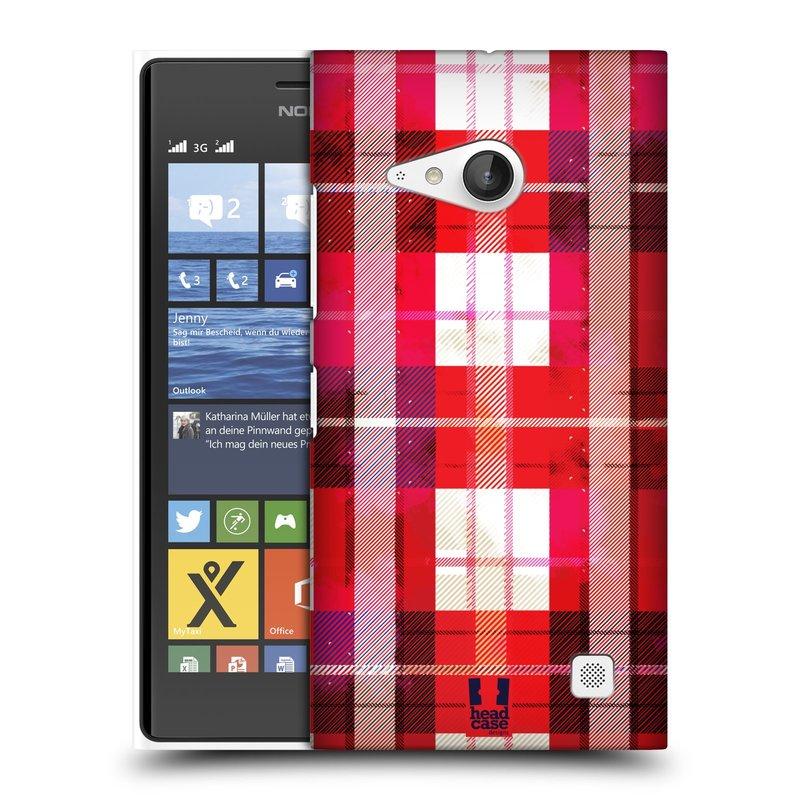 Plastové pouzdro na mobil Nokia Lumia 735 HEAD CASE FLANEL RED (Kryt či obal na mobilní telefon Nokia Lumia 735)