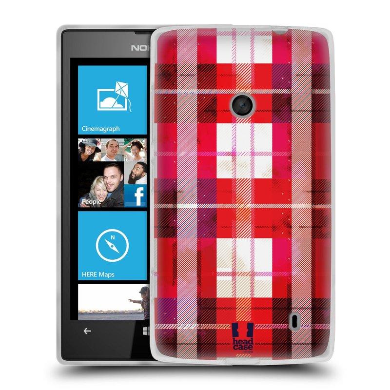 Silikonové pouzdro na mobil Nokia Lumia 520 HEAD CASE FLANEL RED (Silikonový Kryt či obal na mobilní telefon Nokia Lumia 520)