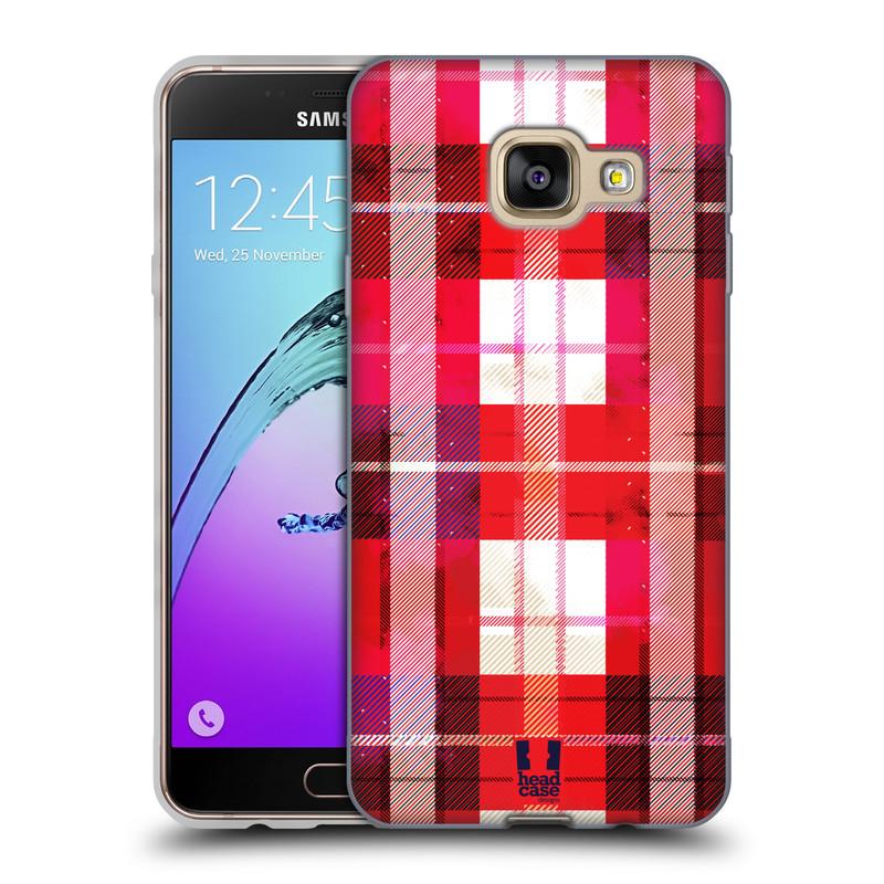 Silikonové pouzdro na mobil Samsung Galaxy A3 (2016) HEAD CASE FLANEL RED (Silikonový kryt či obal na mobilní telefon Samsung Galaxy A3 (2016) SM-A310F)