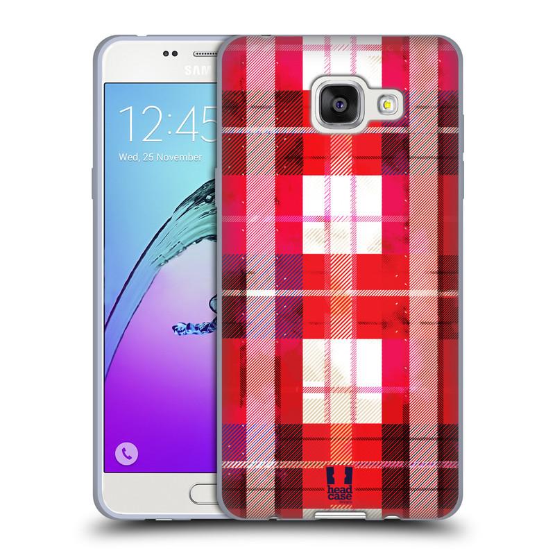Silikonové pouzdro na mobil Samsung Galaxy A5 (2016) HEAD CASE FLANEL RED (Silikonový kryt či obal na mobilní telefon Samsung Galaxy A5 (2016) SM-A510F)