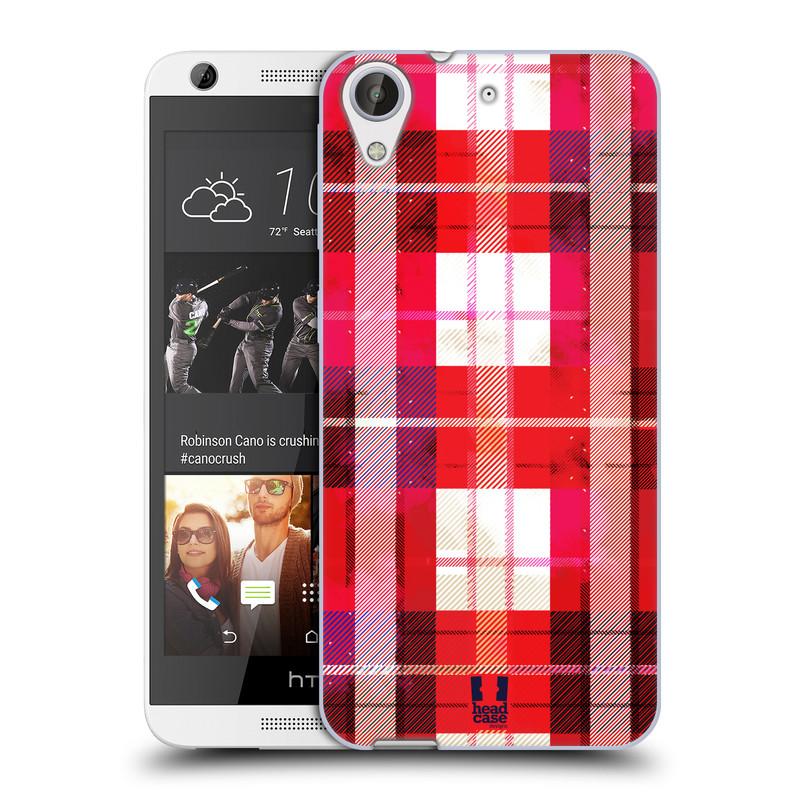 Silikonové pouzdro na mobil HTC Desire 626 / 626G HEAD CASE FLANEL RED (Silikonový kryt či obal na mobilní telefon HTC Desire 626 a 626G Dual SIM)