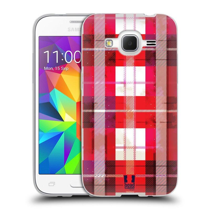 Silikonové pouzdro na mobil Samsung Galaxy Core Prime LTE HEAD CASE FLANEL RED (Silikonový kryt či obal na mobilní telefon Samsung Galaxy Core Prime LTE SM-G360)