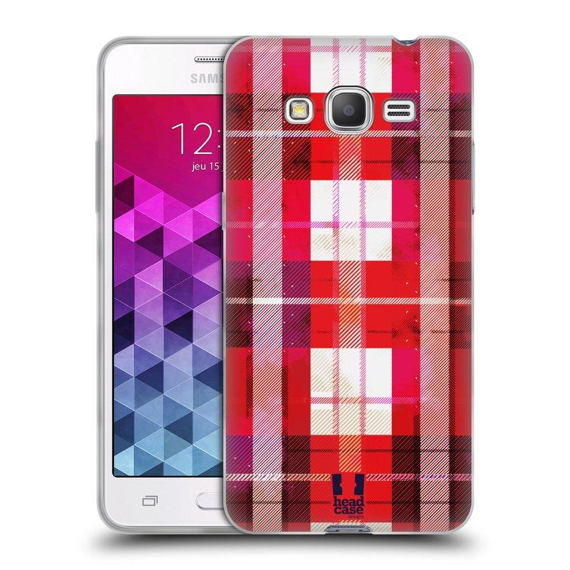 Silikonové pouzdro na mobil Samsung Galaxy Grand Prime HEAD CASE FLANEL RED (Silikonový kryt či obal na mobilní telefon Samsung Galaxy Grand Prime SM-G530)