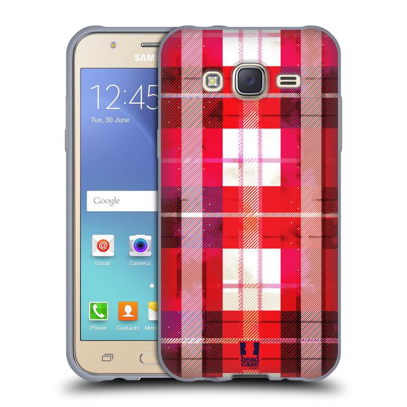 Silikonové pouzdro na mobil Samsung Galaxy J5 HEAD CASE FLANEL RED (Silikonový kryt či obal na mobilní telefon Samsung Galaxy Samsung Galaxy J5 SM-J500)