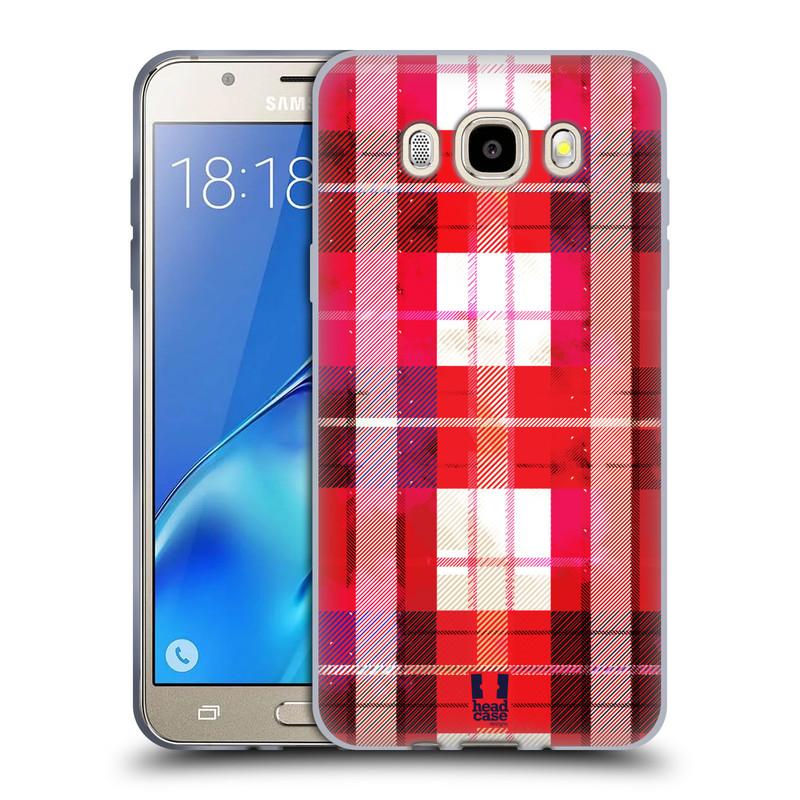 Silikonové pouzdro na mobil Samsung Galaxy J5 (2016) HEAD CASE FLANEL RED (Silikonový kryt či obal na mobilní telefon Samsung Galaxy J5 (2016) SM-J510)