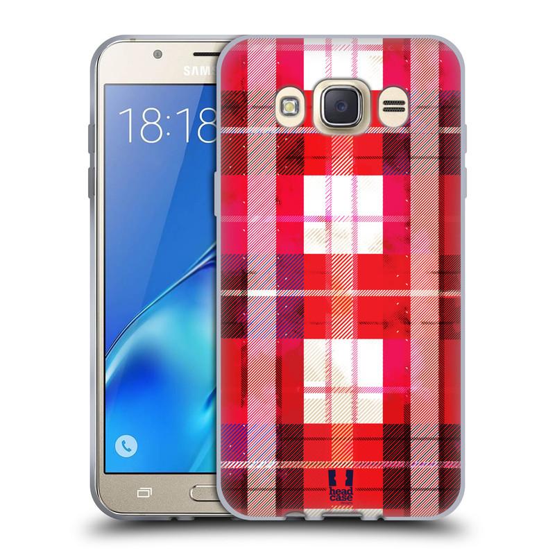 Silikonové pouzdro na mobil Samsung Galaxy J7 (2016) HEAD CASE FLANEL RED (Silikonový kryt či obal na mobilní telefon Samsung Galaxy J7 (2016) SM-J710)