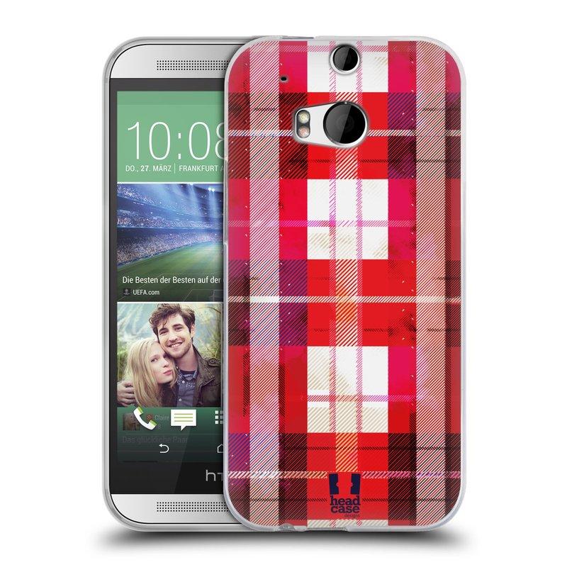Silikonové pouzdro na mobil HTC ONE M8 HEAD CASE FLANEL RED BLACK (Silikonový kryt či obal na mobilní telefon HTC ONE M8)