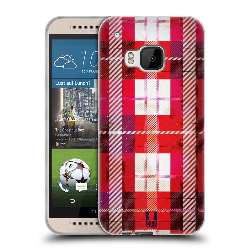 Silikonové pouzdro na mobil HTC ONE M9 HEAD CASE FLANEL RED BLACK (Silikonový kryt či obal na mobilní telefon HTC ONE M9)