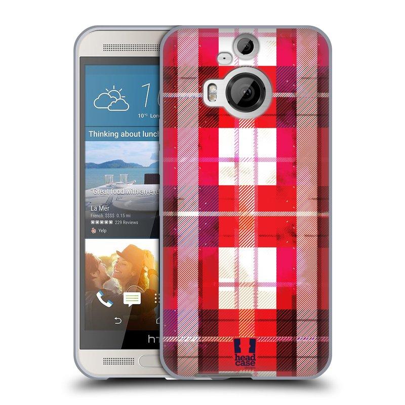 Silikonové pouzdro na mobil HTC One M9+ (Plus) HEAD CASE FLANEL RED (Silikonový kryt či obal na mobilní telefon HTC One M9+)