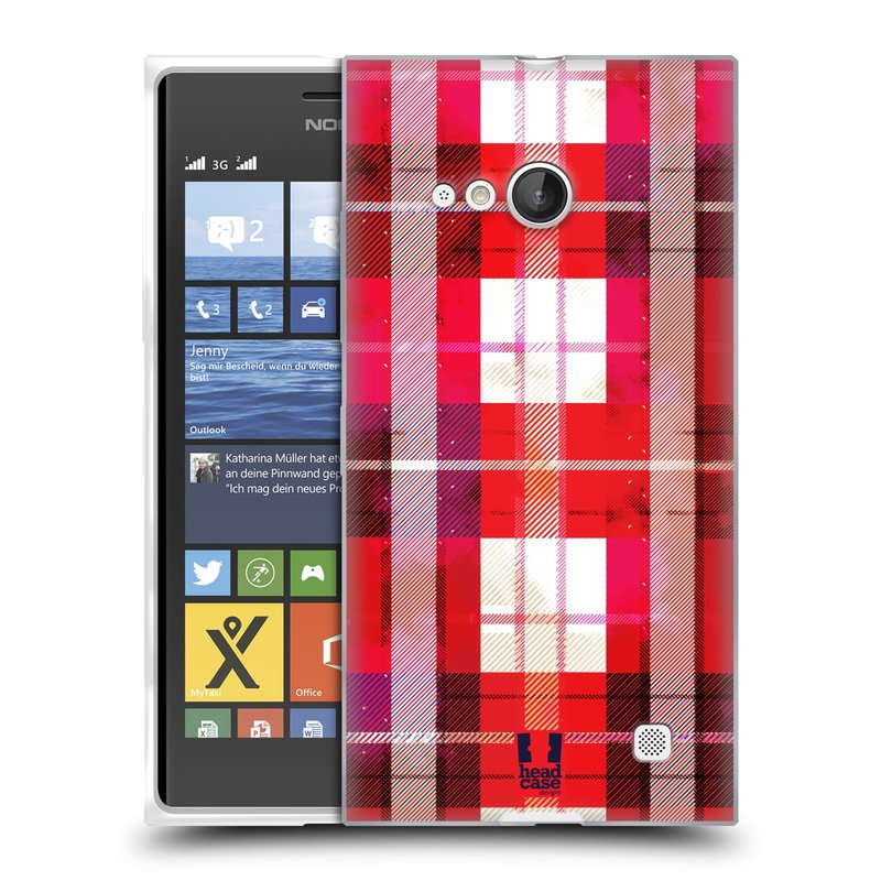 Silikonové pouzdro na mobil Nokia Lumia 735 HEAD CASE FLANEL RED (Silikonový kryt či obal na mobilní telefon Nokia Lumia 735)
