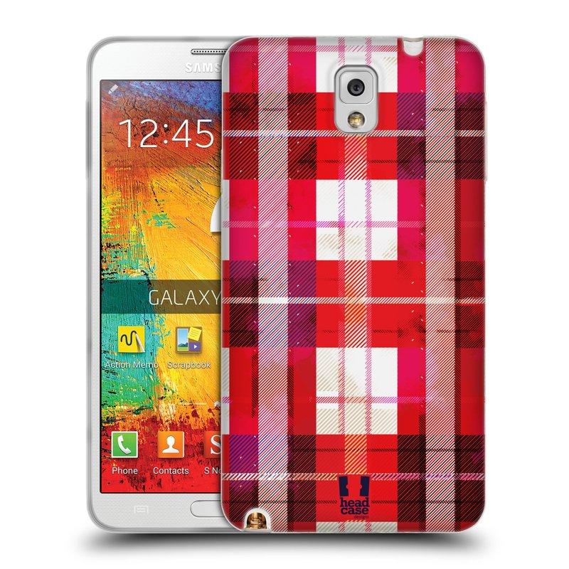 Silikonové pouzdro na mobil Samsung Galaxy Note 3 HEAD CASE FLANEL RED (Silikonový kryt či obal na mobilní telefon Samsung Galaxy Note 3 SM-N9005)