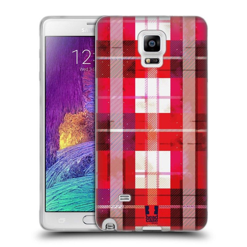 Silikonové pouzdro na mobil Samsung Galaxy Note 4 HEAD CASE FLANEL RED (Silikonový kryt či obal na mobilní telefon Samsung Galaxy Note 4 SM-N910F)
