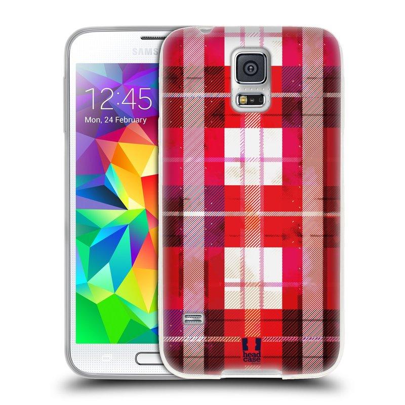 Silikonové pouzdro na mobil Samsung Galaxy S5 HEAD CASE FLANEL RED (Silikonový kryt či obal na mobilní telefon Samsung Galaxy S5 SM-G900F)