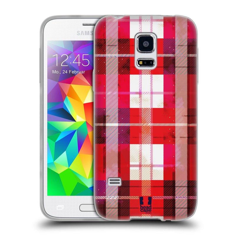 Silikonové pouzdro na mobil Samsung Galaxy S5 Mini HEAD CASE FLANEL RED (Silikonový kryt či obal na mobilní telefon Samsung Galaxy S5 Mini SM-G800F)