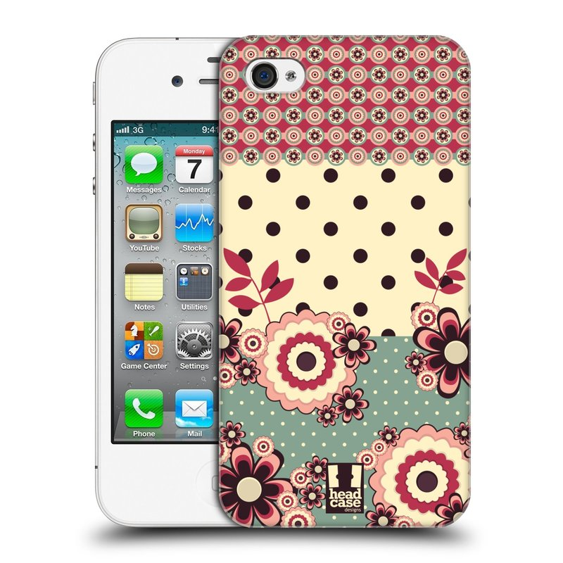 Plastové pouzdro na mobil Apple iPhone 4 a 4S HEAD CASE KVÍTKA PINK CREAM (Kryt či obal na mobilní telefon Apple iPhone 4 a 4S)