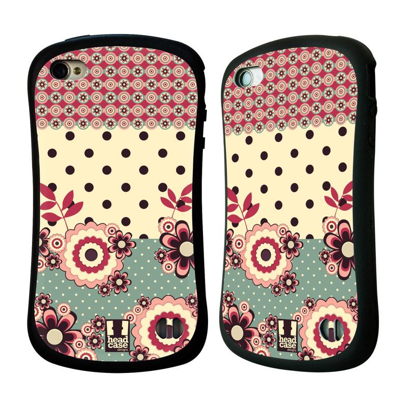 Nárazuvzdorné pouzdro na mobil Apple iPhone 4 a 4S HEAD CASE KVÍTKA PINK CREAM (Odolný nárazuvzdorný silikonový kryt či obal na mobilní telefon Apple iPhone 4 a 4S)
