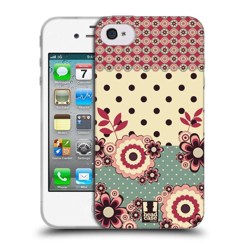 Silikonové pouzdro na mobil Apple iPhone 4 a 4S HEAD CASE KVÍTKA PINK CREAM (Silikonový kryt či obal na mobilní telefon Apple iPhone 4 a 4S)