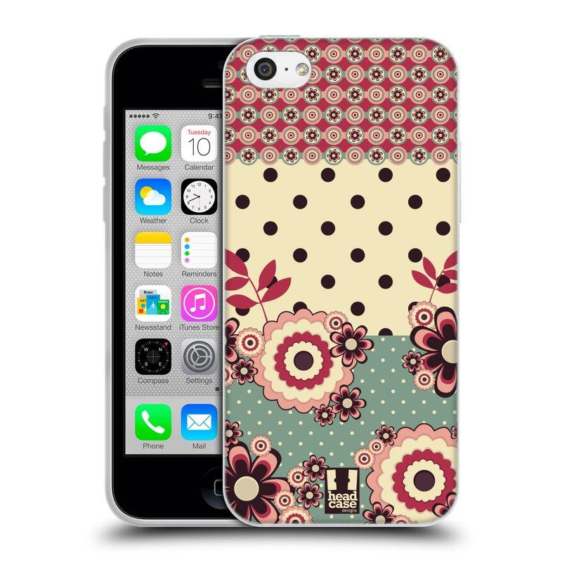 Silikonové pouzdro na mobil Apple iPhone 5C HEAD CASE KVÍTKA PINK CREAM (Silikonový kryt či obal na mobilní telefon Apple iPhone 5C)