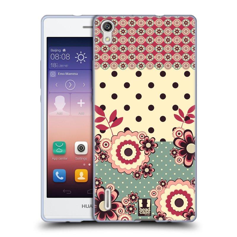 Silikonové pouzdro na mobil Huawei P7 HEAD CASE KVÍTKA PINK CREAM (Silikonový kryt či obal na mobilní telefon Huawei Ascend P7)