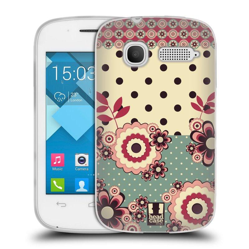Silikonové pouzdro na mobil Alcatel One Touch Pop C1 HEAD CASE KVÍTKA PINK CREAM (Silikonový kryt či obal na mobilní telefon Alcatel OT-4015D POP C1)