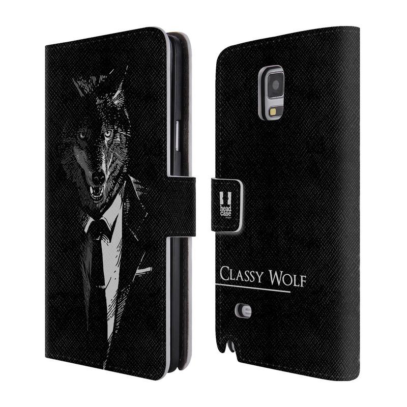 Flipové pouzdro na mobil Samsung Galaxy Note 4 HEAD CASE Vlk v kvádru (Flipový vyklápěcí kryt či obal z umělé kůže na mobilní telefon Samsung Galaxy Note 4 SM-N910)