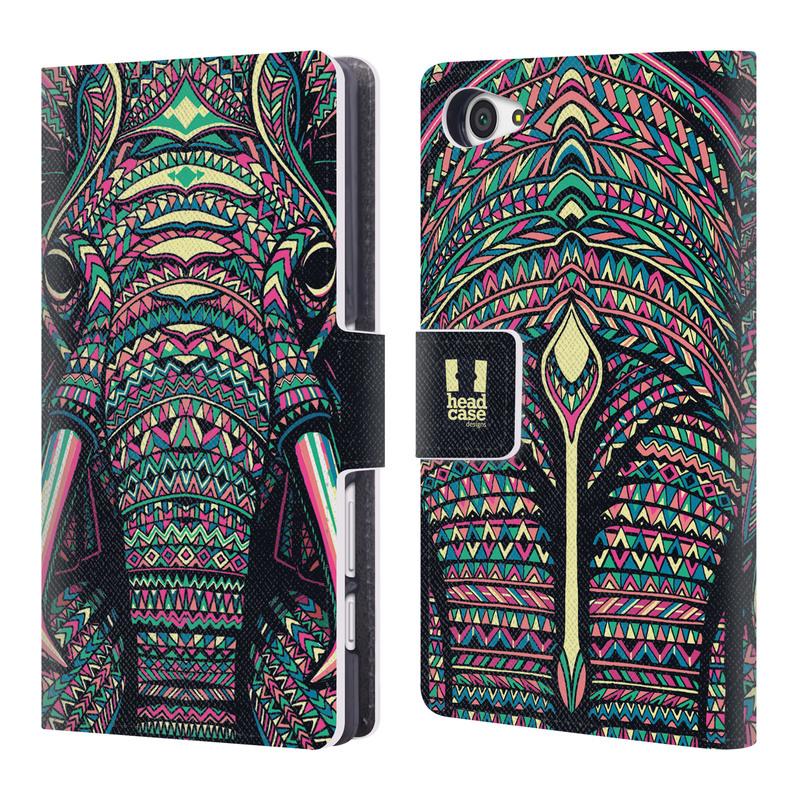 Flipové pouzdro na mobil Sony Xperia Z5 Compact HEAD CASE Aztec Slon (Flipový vyklápěcí kryt či obal z umělé kůže na mobilní telefon Sony Xperia Z5 Compact E5823)