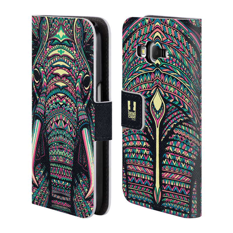 Flipové pouzdro na mobil Samsung Galaxy Core Prime LTE HEAD CASE Aztec Slon (Flipový vyklápěcí kryt či obal z umělé kůže na mobilní telefon Samsung Galaxy Core Prime LTE SM-G360)