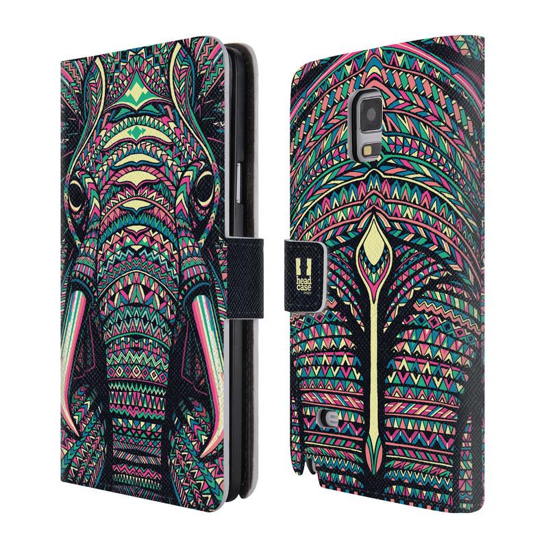 Flipové pouzdro na mobil Samsung Galaxy Note 4 HEAD CASE Aztec Slon (Flipový vyklápěcí kryt či obal z umělé kůže na mobilní telefon Samsung Galaxy Note 4 SM-N910)
