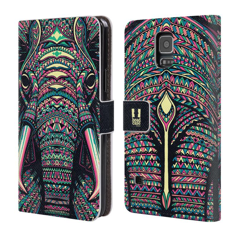 Flipové pouzdro na mobil Samsung Galaxy S5 HEAD CASE Aztec Slon (Flipový vyklápěcí kryt či obal z umělé kůže na mobilní telefon Samsung Galaxy S5 SM-G900)